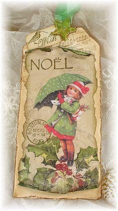 Trash to Treasure Art    Looks like an old Christmas card