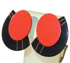 Vintage 80s Earrings Memphis Design Group by metroretrovintage