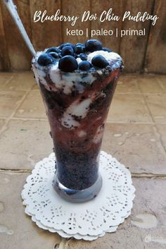 Indian Flavoured Blueberry Chia Pudding, low in carbs and easy to make