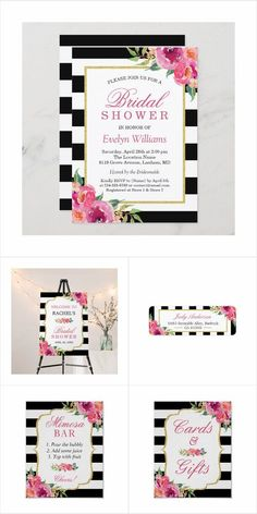 A Fuchsia Purple Pink Floral Themed Invitation Suite, with items from invitations to RSVP card, Thank You Card, Stickers, Address Label, Sign Poster, and more.#bridalshower Wedding Invitation Trends, Mason Jar Wedding Invitations, Bridal Shower Invitations, Wedding Stationery, Invites, Black And White Wedding Theme, Black And White Wedding Invitations, Wedding Party Songs, Wedding Cards