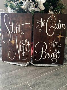 Silent Night Christmas Sign Christmas Wood Sign Holiday