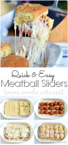 Quick and Easy Meatball Sliders ~ these cheesy sliders are an easy appetizer recipe for game day or any occasion! They even make a great easy weeknight dinner idea for the family! Fingerfood Recipes, Easy Appetizer Recipes, Recipes Dinner, Easy Dinner Party Recipes, Easy Party Food, Appetizers For Dinner Party, Party Food Sides, Game Day Recipes, Superbowl Party Food Ideas