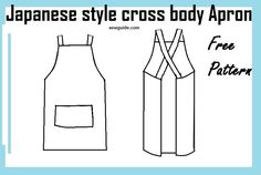 Make Easy Japanese style CROSS BACK APRON – Free diy pattern & tutorial Learn to make an easy to sew Pinafore type Japanese Apron with Cross back straps. Without ties so Convenient to put on easily. Apron Pattern Free, Sewing Patterns Free, Free Sewing, Apron Patterns, Dress Patterns, Japanese Sewing Patterns, Vintage Apron Pattern, Sewing Paterns, Pattern Sewing