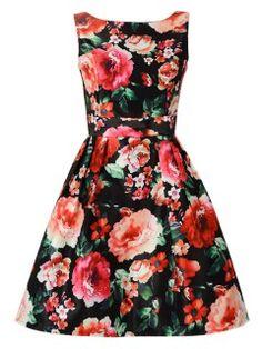 Multicolor Floral Print Bow Waist Skater Vest Dress