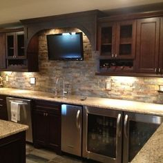 MAN CAVE WET BAR  Traditional Basement Stone Bar Design, Pictures, Remodel, Decor and Ideas - page 3: