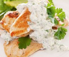 Chicken breasts with blue cheese sauce and dry white wine.Quick,easy and delicious..
