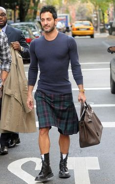 Marc Jacobs in Kilt. Untuck your shirt and leave off the kilt belt and sporran for a less formal look.