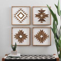 Tribal Wood Plank Wall Plaques, Set of 4 | Kirklands