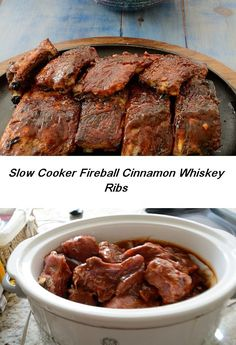 For Canada Day have these Award Winning Fireball Cinnamon Whiskey Ribs! They use Canada's Fireball Cinnamon Whiskey in the sauce! An unusual and very tasty take on ribs! Fireball Recipes, Whiskey Recipes, Alcohol Recipes, Crock Pot Slow Cooker, Slow Cooker Recipes, Crockpot Recipes, Delicious Recipes, Tasty, Pork Rib Recipes