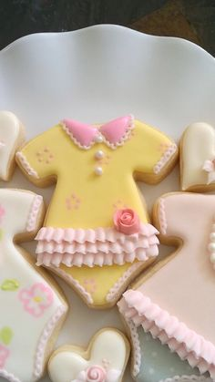 12 Girl's Onesie Cookie Favors-Fashionista Style by MarinoldCakes
