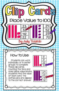 These place value clip cards are a fun hands-on approach to teaching your students about numbers 1-100. For extra sturdiness, copy the pages onto heavy card stock and laminate.   Have a collection of clothes pins on hand and have your students count the t