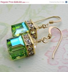 Bright apple or peridot green Swarovski crystal earrings are perfect gift for the August born girl. Handmade with Swarovski crystal cubes and accented