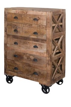 Reclaimed Wood Trolley Accent Chest