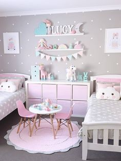 Inspiration from Instagram -Jo Ferguson @my_home_14 - pastel girls room ideas, pink and grey girls room design, kidsroom decor, girls kidsroom,
