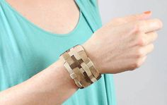 Woven Leather Cuff Bracelet