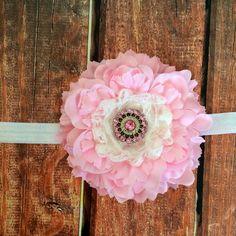 Pink Flower Headband, Flower Headband, Pink Headband, Baby Girl Headband, Photo Prop on Etsy, $10.00