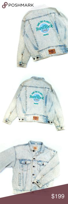 """Vintage Hard Rock Cafe PARIS Denim Jean Jacket Vintage Hard Rock Cafe PARIS Save the Planet Denim Jean Bomber Jacket, this jacket is gorgeous! The fading is perfect 23"""" bust, 24"""" long, 19"""" along the bottom, 20.5"""" arm inseam Great vintage condition Feel free to ask me any additional questions! Bundles 3+ are 15% off. Happy Poshing! Measurements are approximate. Vintage Jackets & Coats Jean Jackets"""