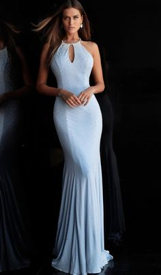 e25410345da7 Jovani - 67101 Beaded Halter Jersey Trumpet Dress. CoutureCandy.com