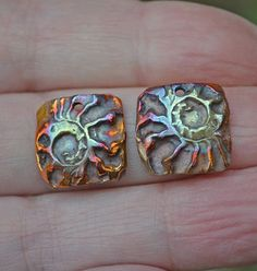 raku (why not combine copper, enamel, and polyMer) Metal Clay Jewelry, Ceramic Jewelry, Ceramic Clay, Copper Jewelry, Raku Pottery, Precious Metal Clay, Ammonite, Polymer Clay Beads, Copper Earrings