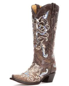 Yes please!  Women's Tobacco / Beige Silver Sequin Cross Boot - A1187