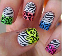 Peace, Love and Polish: Crazy Neon Animal Print Randomness Crazy Nails, Fancy Nails, Pretty Nails, Nice Nails, Hot Nails, Hair And Nails, Cool Nail Art, Manicure And Pedicure, Nails Inspiration