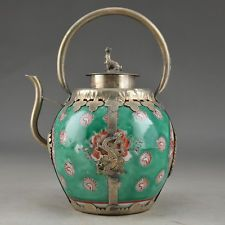 Big Porcelain Glaze Copper Chinese Handwork Old Carving Dragon Phoenix TeaPot