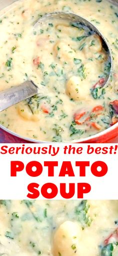 The Best Potato Soup…a thick , creamy, hearty soup that's absolutely delicious! I made this soup the day I made the Sweet Potato Dinner Rolls. It was the perfect Fall dinner! Best Potato Soup, Cream Potato Soup, Creamy Potato Bacon Soup, Hearty Potato Soup Recipe, Kale Potato Soup, Homemade Potato Soup, Hearty Soup Recipes, Homemade Breads, Homemade Baby