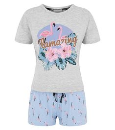 Ensemble de pyjama bleu clair à slogan Flamazing | New Look