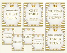 Table Signs Baby Shower Table Signs Royal Baby Shower Table Signs Gold White Baby Shower Gold Table Signs baby shower idea prints Y9MQF - Digital Product #babyshowergames #babyshowerdecorations