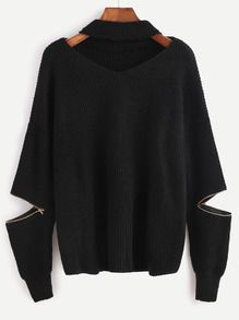 Black Choker V Neck Sweater With Sleeve Zip Detail