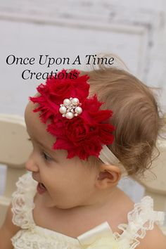 Cranberry & Ivory Pearl Double Shabby Flower Headband - Christmas Photo Prop - Autumn Newborn Infant Hairbow - Dark Red Baby Girls Hair Bow on Etsy, $5.99