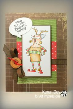 Karen's Creations: Ai Reindeer Games set from Art Impressions.  Christmas card.