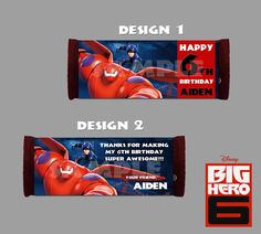 Printable Disney Big Hero 6 Theme Hershey Wrappers by PeekaOwl