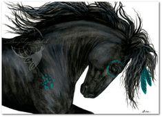 Majestuoso caballo Friesian turquesa guerra pintura indígena