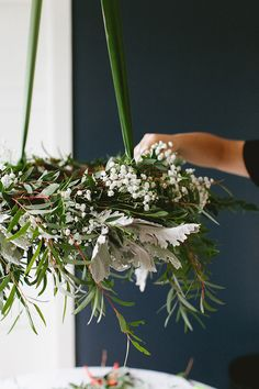 Tips For Just A Second Wedding Ceremony Anniversary Reward Diy Hanging Eucalyptus Wreath Centerpiece For Casual, Low-Key Holiday Entertaining. Get The Full Craft Tutorial On Diy Christmas Ornaments, Christmas Decorations, Christmas Centerpieces, Holiday Decor, Diy Wreath, Wreaths, Wreath Making, Diy Craft Projects, Diy Crafts