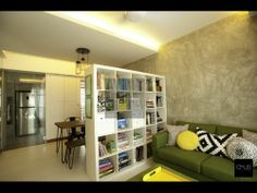 Living Room Ideas   OMUS living  Note: Partition between living room and bookcase and dining area.