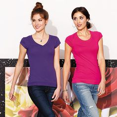 District-Juniors Cotton/Spandex Banded V-Neck Tee-DT247