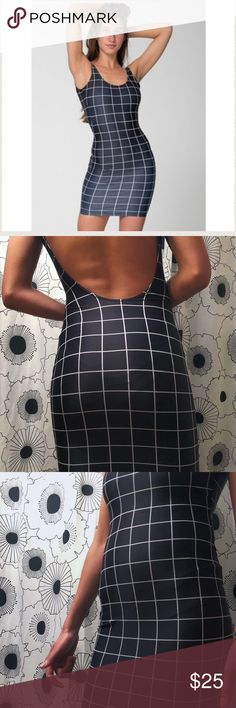 American Apparel Grid Bodycon Dress Worn once, great condition. Very stretchy, fits size small or medium. American Apparel Dresses Mini