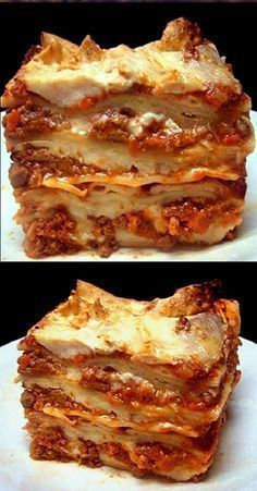 Authentic Lasagna Bolognese. The meatiest, creamiest, cheesy lasagna you'll ever have. Everything from scratch!