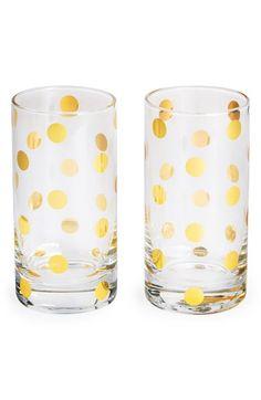 Gold dot highball glasses