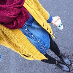 Mustard cardigan, cranberry scarf, chambray shirt fall outfit idea