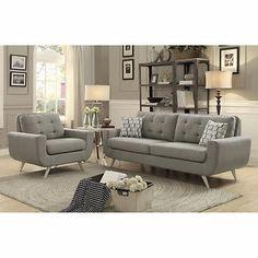 erica ii grey fabric sofa and loveseat living room pinterest rh za pinterest com Grey Sectional Sofa Sofa and Loveseat Sets