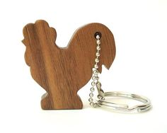 Rooster Key Chain Wood Scroll Saw Outline Keychain Morado                                                                                                                                                                                 Mehr