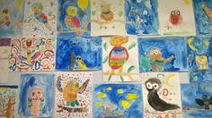 Peintures de chouettes réalisées d'après un pas à pas. CP janvier