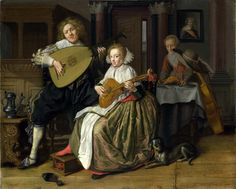 Jan Miense Molenaer. A young man playing a theorbo and a young woman playing a cittern