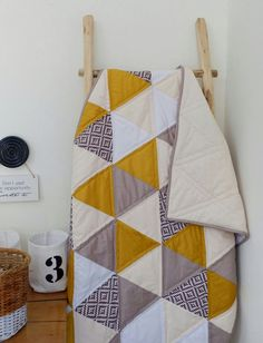 Excited to share the latest addition to my #etsy shop: Gold, geometric, triangle, patchwork quilt, triangle quilt, gold triangle quilt, baby quit, sofa cover http://etsy.me/2jepcGv