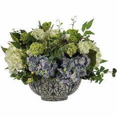 Hydrangea Centerpiece Silk Flower Arrangement