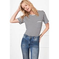 Anine Bing Striped Tee - Blue Stripes ($99) ❤ liked on Polyvore featuring tops, t-shirts, short-sleeve, striped, blue striped t shirt, white t shirt, loose fitting t shirts, white tee and blue tee