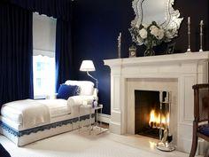 Fireplace in bedroom. Navy bedroom (reminds me of cruel intentions) <3