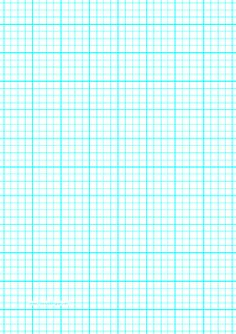 This A4 graph paper has four aqua blue lines per inch plus heavy index lines every inch. Free to download and print
